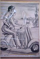 Bill Ward Conte Crayon - Nice motorcycle Can I hold on?